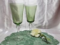 Hand Blown Olive Green Wine / Water Stemmed Glass Goblets Clear Stem ~ Set of 2