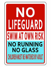 POOL SAFETY Sign DURABLE ALUMINUM NEVER RUST SWIMMING POOL SIGN FULL COLOR