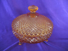 English Hobnail 3-Footed Covered Candy Dish Pink