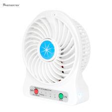 Portable Rechargeable LED Light Fan Air Cooler Mini Desk USB Fan +18650 Battery