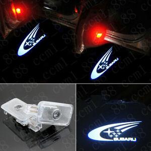 2x White Logo LED Light Door Projector Emblem Kit For Subaru Forester Outback XV