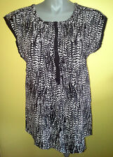 Ladies Womens Cap Sleeve Blouse Shirt Top Casual Black White Katies Size 18