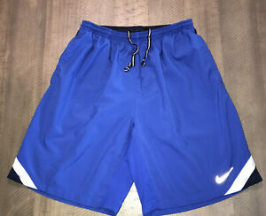 """Mens Nike Dri-Fit Running Shorts Blue Size Med 8.5"""" Ins EUC Breathable Pockets"""