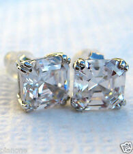 4 Ct Sterling Silver .925 Cubic Zirconia Asscher Cut Studs 7mm Square Princess