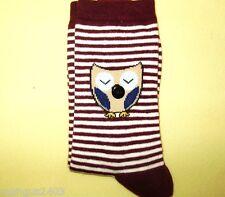 Señoras de la alta calidad Novedad Regalo calcetines ciruela Stripe Sleepy Marrón Con Dibujo De Búho botón Nariz