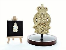RAOC: LARGE Solid Brass Badge Gift Set with wood display base (14cm x 8.5cm)