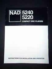 NAD 5240 5220 MANUALS INSTRUCTION ORIGINAL USER GUIDE PARTS CD PLAYER
