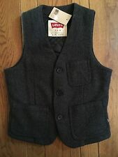 LEVIS Charcoal Gray Tweed Wool Blend Buckle Back Vest Small NWT