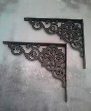 "Pair Large Cast Iron Victorian Antique Flower Wall Shelf Brackets 12"" x 10"""
