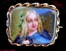 GEORGIAN MINIATURE PORTRAIT OF A LADY ON PORCELAIN  GOLD PLATED PIN