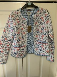 JOULES CLOTHING Quilted Jacket Women's 6/8 White Blue Pink Floral Lightweight
