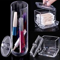 Cosmetic Makeup Case Clear Q-tip Storage Holder Cotton Pad Swab Box Organizer JS
