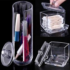 Cosmetic Makeup Case Clear Q-tip Storage Holder Cotton Pad Swab Box OrganizerTH