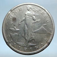 1907 S PHILIPPINES Under US Administration w Eagle Silver PESO Coin i74025