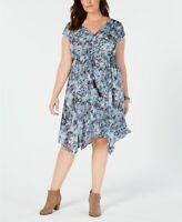 Style & Co. Women's Plus Size A-Line Handkerchief Hem Dress, Blue, 1X