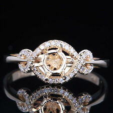 Solid 10K Yellow Gold 5.5mm Round Pave Diamond Semi Mount Engagement Fine Ring