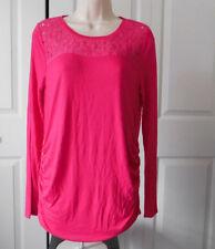 Kohls A:GLOW Womens MATERNITY Fushia Pink Floral Lace Yoke Ruched Top Size M