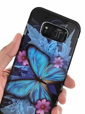 For Samsung Galaxy S8 Plus Slim Shockproof Blue Butterfly Hybrid Hard Phone Case