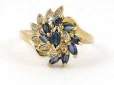 Round Diamond Right Hand Ring .52ct 10k Yellow Gold Marquise Sapphire and