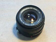 VINTAGE ORIGINAL 35mm SLR FILM CAMERA LENS MADE JAPAN CANON LENS FD 50mm 1:1.8