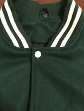 Varsity Dark Forest Green Letterman Wool & White Leather Sleeves Jacket 4XL USA