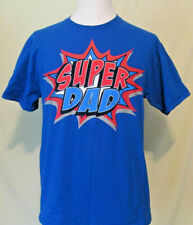 SUPER Dad Tee Shirt Mens Large Father Hero Blue Cotton Fathers Day Great Gift!