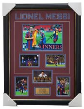 Lionel Messi Signed Barcelona Photo Collage Framed 5 x FIFA Ballon D'Or Winner