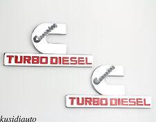 2x Chrome Alloy Cummins Turbo Diesel Emblem Badge Sticker Dodge Ram 1500 2500