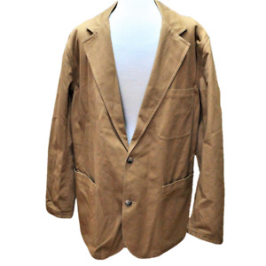 Duluth Trading Co Mens LT Tall Firehouse Presentation Jacket Brown Heavy Cotton