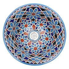 Moroccan Sink Washbasin Wash Basin Ceramic Hand Painted 40cm 15.7'' & Waste (707