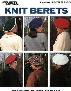 Leisure Arts Leaflet - Knit Berets - Peg Gorman 1993 Vintage Knitting Patterns