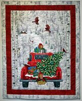 """""""Coming Home for Christmas"""".  One of a kind  Hand Quilted appliqued Wall Quilt"""