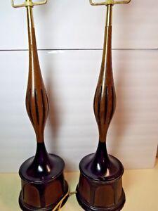 Pair MCM Teak Wood And Metal Very 39'' Tall Danish Table Lamps Rectangle Harp