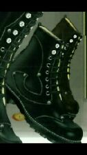 JOHN FLUEVOG ANGELS DERBY STUD BOOTS W8 M5.5 BLACK LEATHER STEAMPUNK WORK COMBAT
