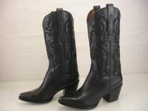 Women's 8 M JEFFREY CAMPBELL DAGGET Black Embroidered Leather Boots Western Tall