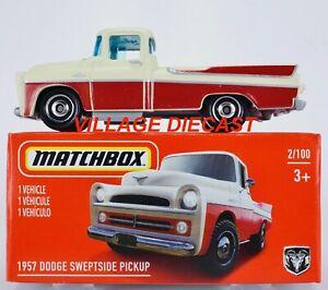 2021 Matchbox Power Grabs #2 1957 Dodge Sweptside Pickup OFF-WHITE / RED / MIB