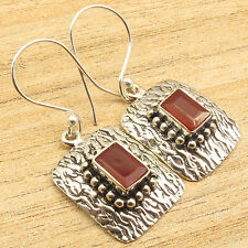 """Checker Cut Stone Earrings, 925 Silver Plated Red CARNELIAN STAMPING Gift 1 1/2"""""""