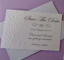 18 x White Save the date cards  text of you choice embossed with hearts