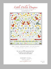 LITTLE WELSH DRAGONS PERSONALISED COUNTED CROSS STITCH SAMPLER KIT Riverdrift