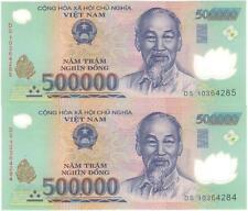 2X VIETNAM $500000 DONG POLYMER BILL BANKNOTE
