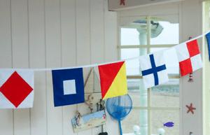 NAUTICAL BUNTING COTTON 5M 16 ALPHABET FLAGS SIGNAL SAILING BOAT SHIP SEASIDE