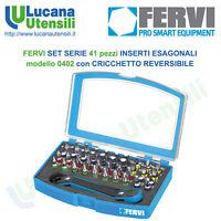 FERVI SET SERIE 41 pezzi INSERTI ESAGONALI con CRICCHETTO REVERSIBILE model 0402
