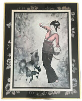 "Asian Girl w Dogs By T.C. CHIU Fine Art Print Framed, Matted & Signed 22"" X 28"""
