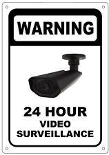 WARNING 24 HOUR VIDEO SURVEILLANCE SIGN – WHITE ALUMINUM (10X7)
