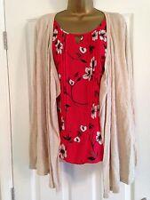 BNWT NEXT Red Chiffon Floral Mock Blouse & Neutral Beige Cardigan Size 8
