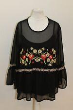MISS SELFRDIGE Ladies Black Long Sleeve Sheer Embroidered Blouse UK14 EU42