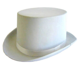 WHITE SATIN TOP HAT WITH RIBBON FANCY DRESS PARTY