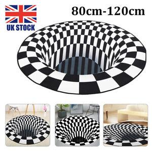 3D Printed Black White Vortex Illusion Anti-slip Room Rug Carpet Floor Door Mat