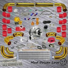 """GOLD 12x UNIVERSAL 2.5"""" PIPING T3/T4 .63A/R TURBO KIT RED COUPLER WASTEGATE BOV"""