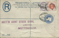 GB 1895 2d Reg'd Letter Uprated 1.1/2d from Leicester to Nottingham